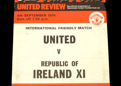 Man Utd v Ireland 11 04.09.1974 - Friendly