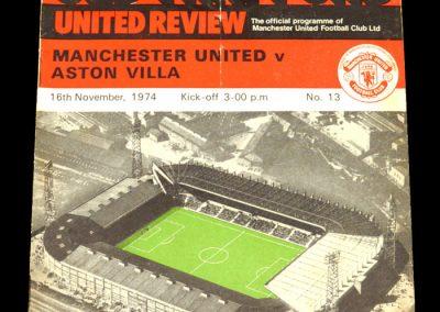 Man Utd v Aston Villa 16.11.1974