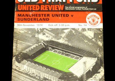 Man Utd v Sunderland 30.11.1974