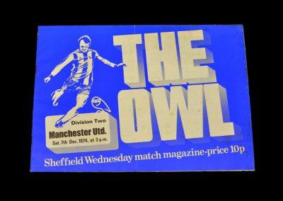 Man Utd v Sheff Wed 07.12.1974