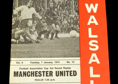 Man Utd v Walsall 07.01.1975 - FA Cup 3rd Round Replay