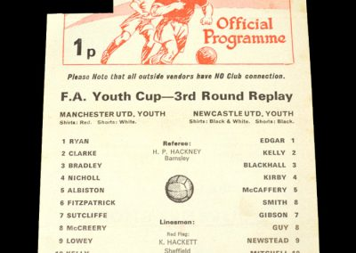 Man Utd Youth v Newcastle Youth 08.01.1975 - FA Youth Cup 3rd Round