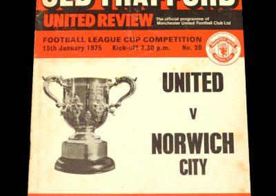 Man Utd v Norwich 15.01.1975 - League Cup Semi Final 1st Leg
