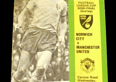 Man Utd v Norwich 22.01.1975 - League Cup Semi Final 2nd Leg