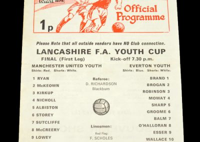 Man Utd Youth v Everton Youth 16.04.1975 - Lancashire Youth Cup 1st Leg