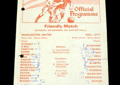 Hull v Man Utd 30.12.1972 - Friendly