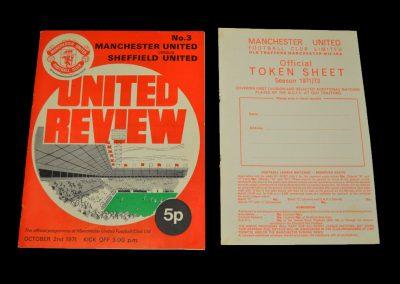 Man Utd v Sheff Utd 02.10.1971 - with token sheet