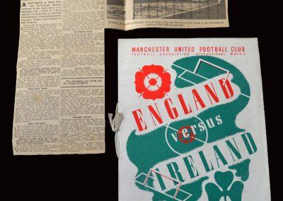 England v Ireland 16.11.1938 (VIP programme with press cutting)