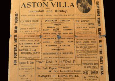 Lowestoft v Aston Villa 28.02.1898