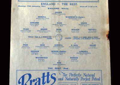 England v The Rest 17.01.1927 (International Trial)