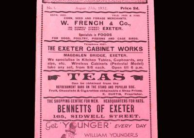 Exeter City v Bristol City 27.08.1932