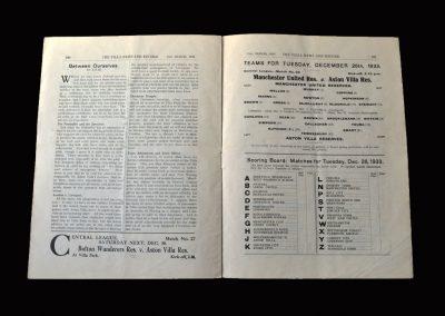 Aston Villa Reserves v Man Utd Reserves 26.12.1933