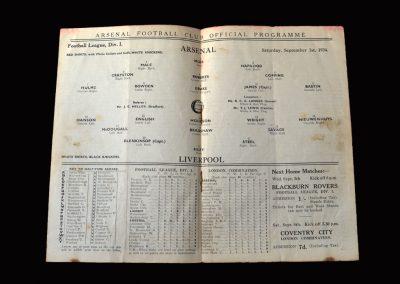 Arsenal v Liverpool 01.09.1934