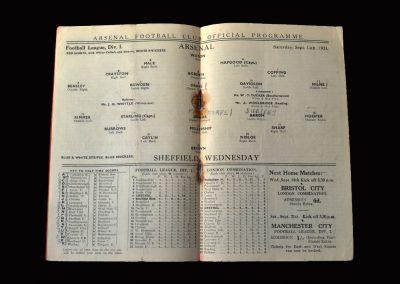 Arsenal v Sheff Wed 14.09.1935