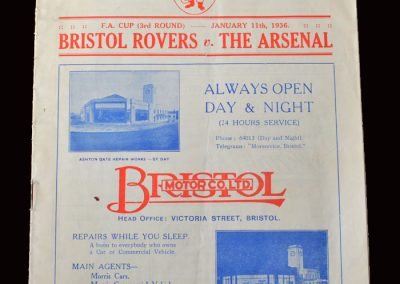 Arsenal v Bristol Rovers 11.01.1936 - FA Cup 3rd Round