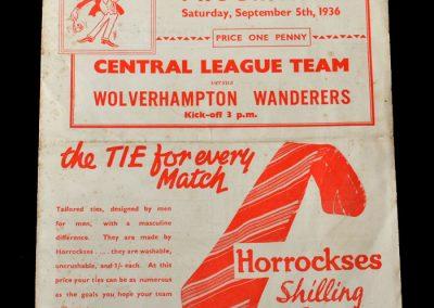 Man Utd Reserves v Wolves Reserves 05.09.1936