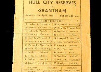 Hull City Reserves v Grantham 02.04.1955