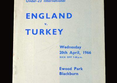 England v Turkey 20.04.1966 - Under 23