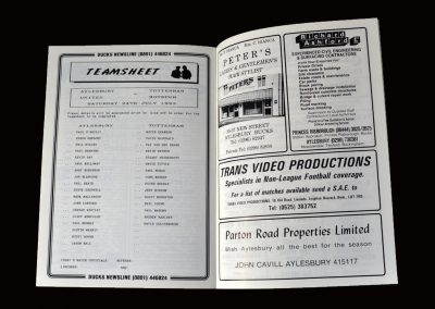 Aylesbury v Wycombe 29.07.1993 (and Aylesbury v Spurs 24.07.1993 and Chelsea 06.08.1993 - teamsheets)