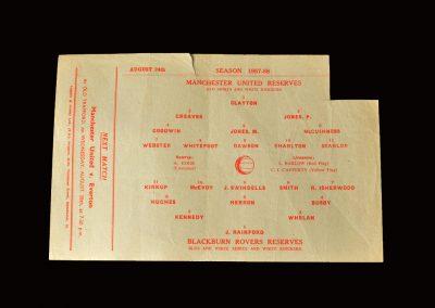 Man Utd Reserves v Blackburn Rovers Reserves 24.08.1957