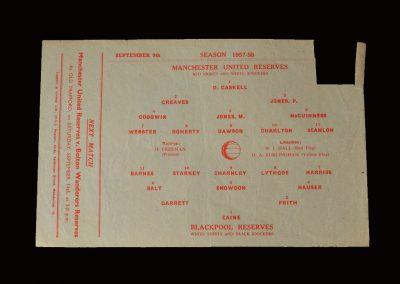 Man Utd Reserves v Blackpool Reserves 09.09.1957
