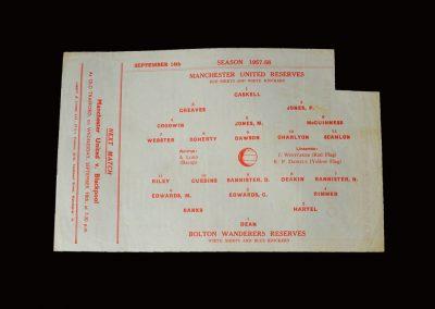 Man Utd Reserves v Bolton Reserves 14.09.1957