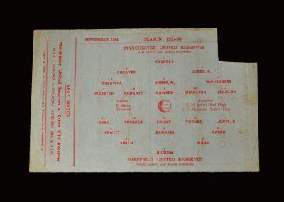 Man Utd Reserves v Sheff Utd Reserves 23.09.1957