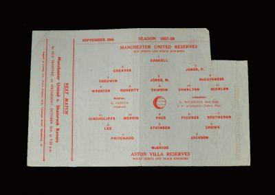 Man Utd Reserves v Aston Villa Reserves 28.09.1957