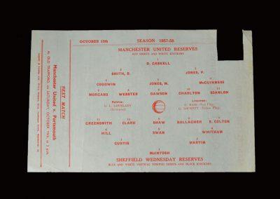 Man Utd Reserves v Sheff Wed Reserves 12.10.1957