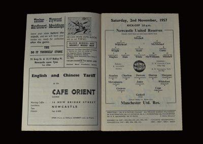 Man Utd Reserves v Newcastle Reserves 02.11.1957