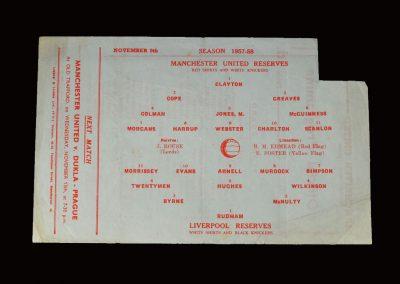 Man Utd Reserves v Liverpool Reserves 09.11.1957