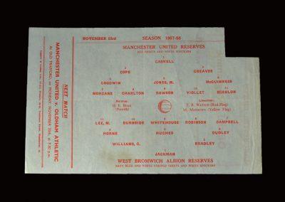 Man Utd Reserves v West Brom Reserves 23.11.1957
