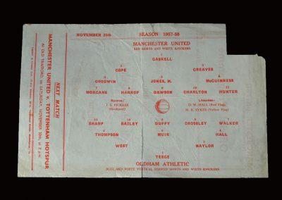 Man Utd Reserves v Oldham Reserves 25.11.1957 (Manchester Senior Cup Semi Final)