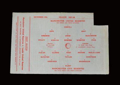 Man Utd Reserves v Man City Reserves 28.12.1957