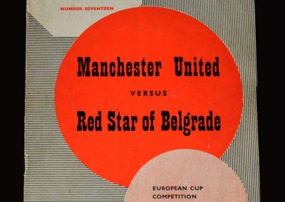 Man Utd v Red Star Belgrade 14.01.1958 - European Cup Quarter Final 1st Leg