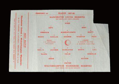 Man Utd Reserves v Wolves Reserves 01.02.1958