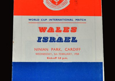 Wales v Israel 05.02.1958 Jimmy Murphy managing Wales and missed the trip to Belgrade.