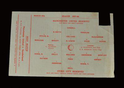 Man Utd Reserves v Stoke City Reserves 29.03.1958