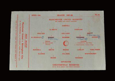 Man Utd Reserves v Chesterfield Reserves 12.04.1958