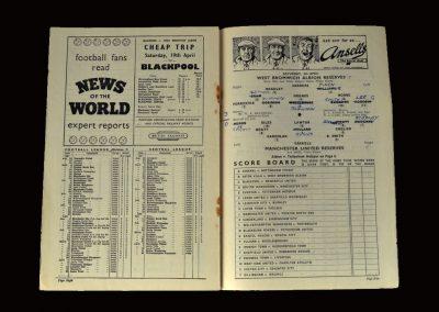Man Utd Reserves v West Brom Reserves 05.04.1958