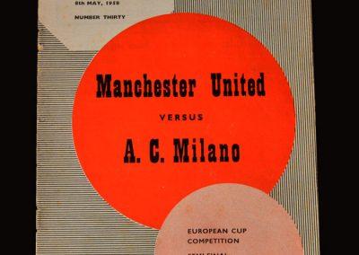 Man Utd v A.C.Milan 08.05.1958 - European Cup Semi Final 1st Leg