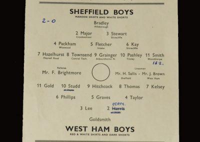 Sheffield Boys v West Ham Boys 15.04.1952 (School boy honours for Tony Kay)