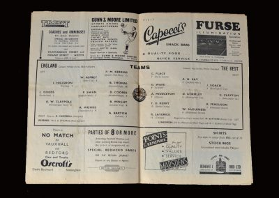 England v The Rest 18.10.1954 (Youth honours for Peter Swan and Tony Kay)