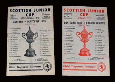 Ashfield v Duntocher 30.04.1955 - Scottish Junior Cup Semi Final (a young Dick Beattie in Goal) | Duntocher v Kilsyth 14.05.1955 - Junior Cup Final