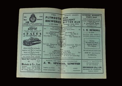 Plymouth v Swindon 11.01.1958 (Jimmy drops down two divisions to Plymouth)