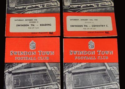 Swindon v Barnsley 26.08.1959 | Swindon v Grimsby 09.09.1959 | Swindon v Reading 17.10.1959 | Swindon v Coventry 16.01.1960 (Jimmy is now at Swindon with Bronco Layne and John Fountain)