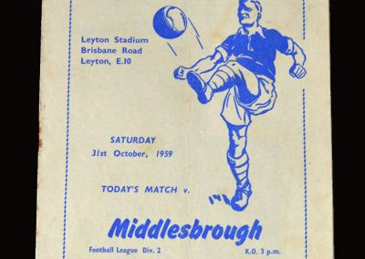 Leyton Orient v Middlesbrough 31.10.1959 (Boro lost 5-0 and cloughie though it was a fix - although our spectator didn't)