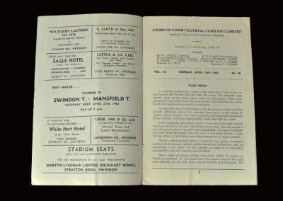 Swindon v Tranmere 18.04.1960 (nearly threw it away)