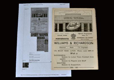 Luton v Portsmouth 24.08.1960 (Dick gets emotional)
