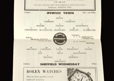 Ipswich v Sheff Wed 01.12.1962 (the highest profile game of them all and a tragedy for Peter, Tony and Bronco. 4th indictment)